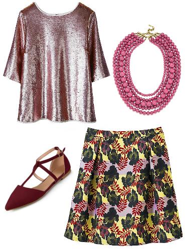 Plus size sequin top, floral skirt, t-strap flats