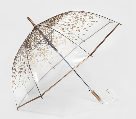 ShedRain Bubble Umbrella - Clear Gold Dot