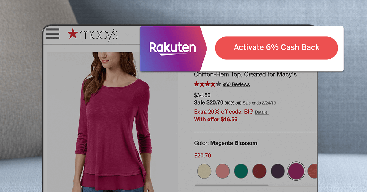Rakuten Cash Back Button