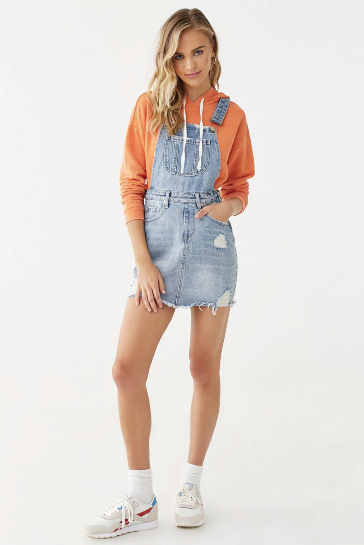 Forever 21 Distressed Overall Skirt