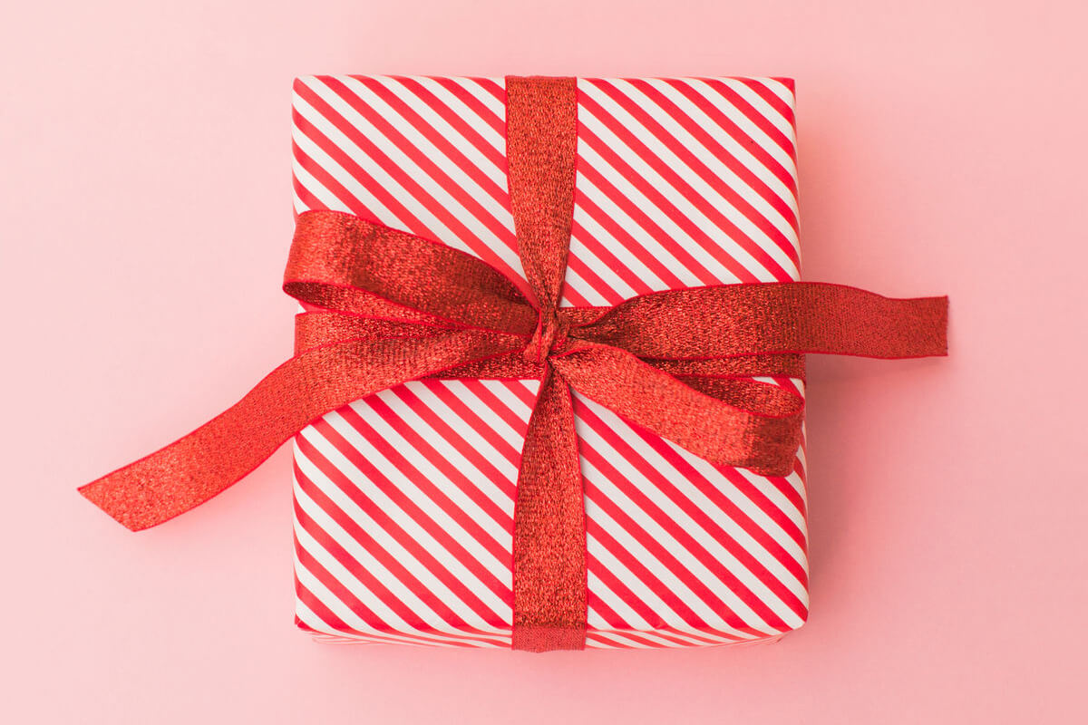 Gift wrapped with a bow