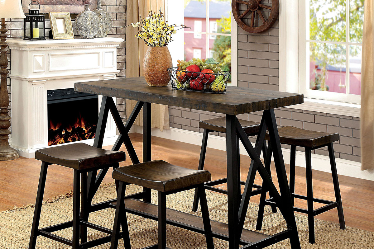 Wooden dining table with stools