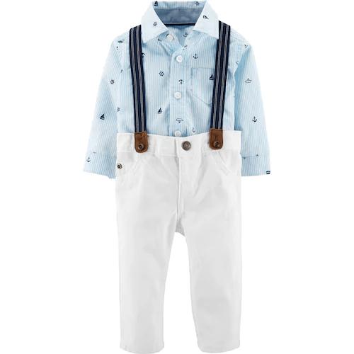 Baby Boy Carter's Nautical Bodysuit, White Pants & Suspenders Set