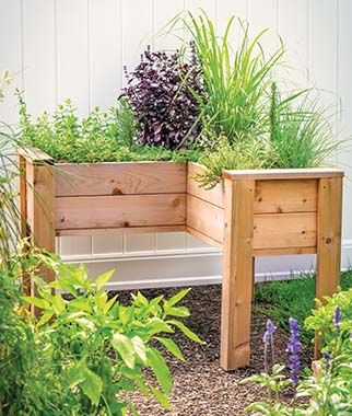 L-Shaped Cedar Elevated Planter
