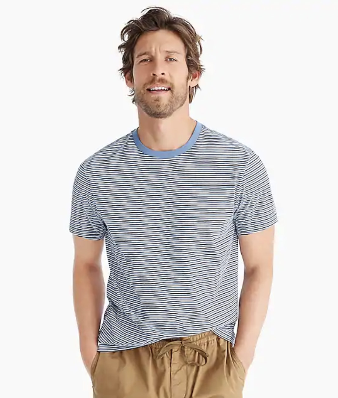 Essential crewneck T-shirt in blue stripe