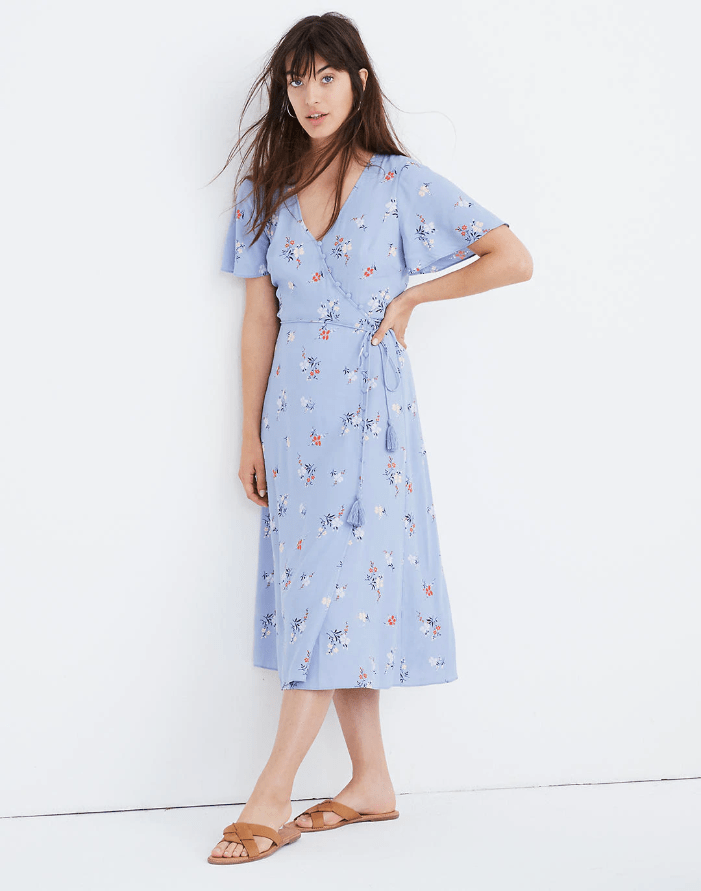 Madewell Button-Wrap Midi Dress in Aloha Floral