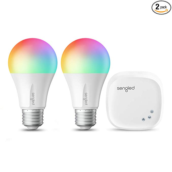 Sengled Smart LED Multicolor A19 Starter Kit, 60W Equivalent Bulbs, 2 Light Bulbs & Hub, RGBW Color and Tunable White 2000-6500K, Works with Alexa & Google Assistant