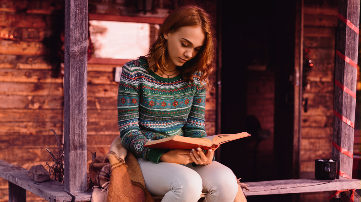 Girl in holiday sweater