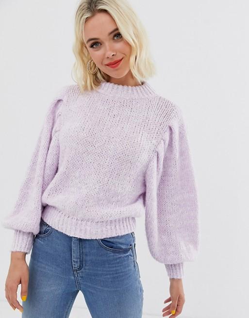 ASOS DESIGN sweater in lofty yarn with volume sleeve