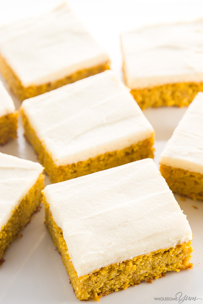 Wholesome Yum LOW CARB HEALTHY PUMPKIN BARS WITH CREAM CHEESE FROSTING