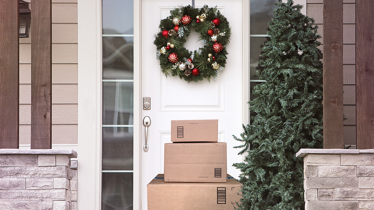 Packages in front of a door