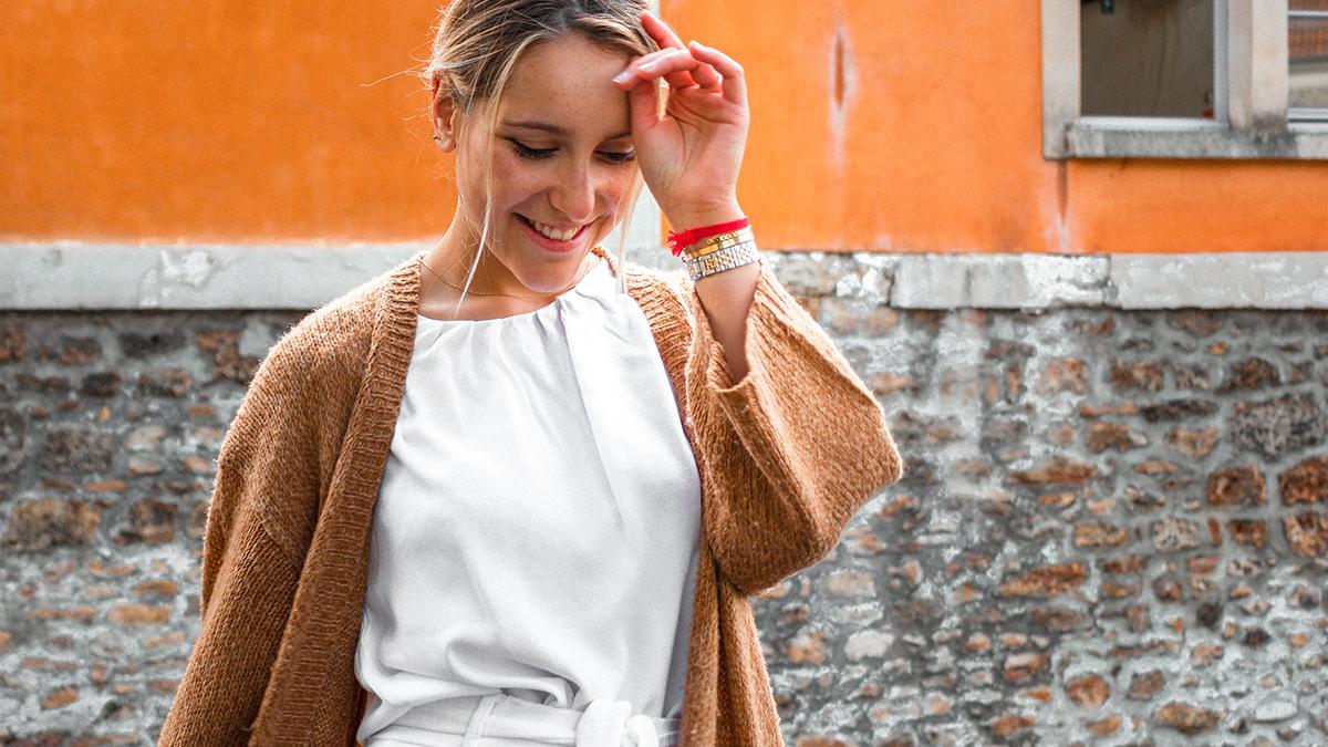 Woman wearing a cardigan