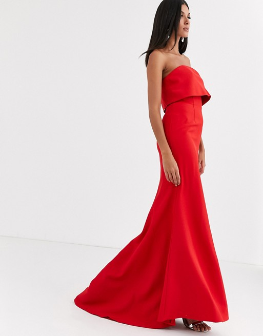 Jarlo Tall fishtail maxi dress with overlay in red