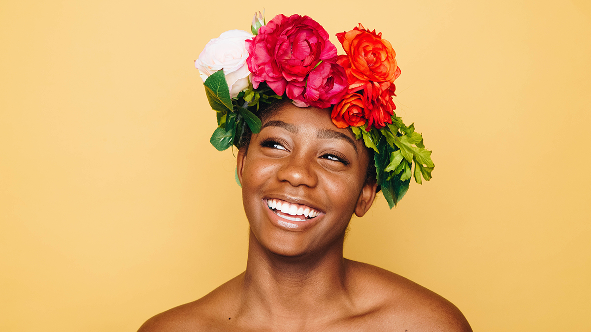Woman wearing a floral crown