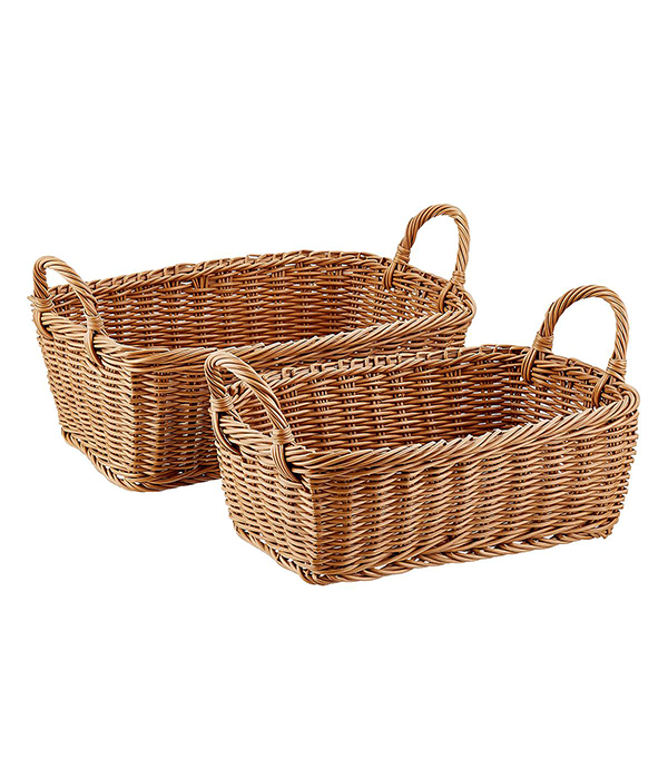 Willow Rectangular Wicker Storage Baskets with Handles