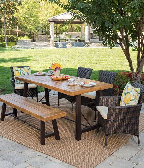 Jennys Outdoor 6-piece Rectangle Wicker Wood Dining Set with Cushions by Christopher Knight Home