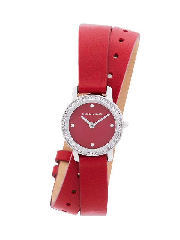 Major Silver Tone Red Vegan Leather Strap Watch, 22mm