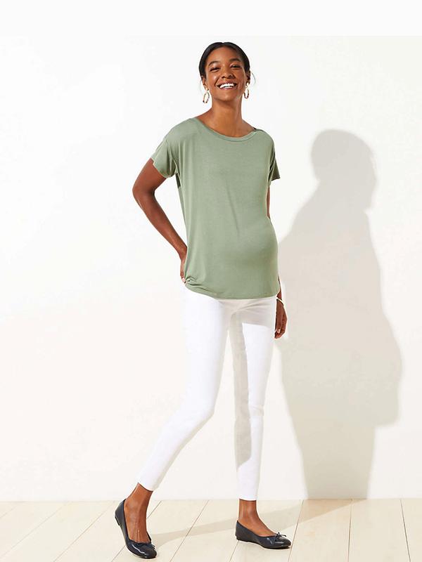 LOFT Maternity Skinny White Jeans
