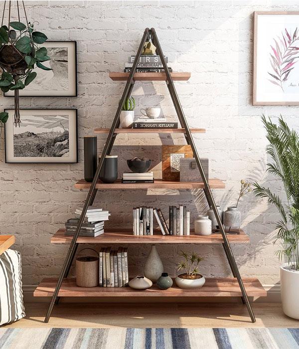 Furniture of America Mown Industrial Walnut Metal Ladder Bookcase