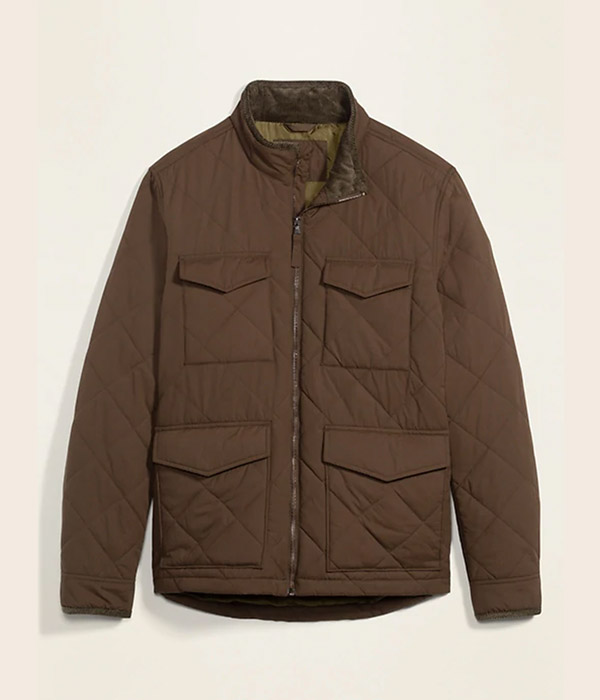 Quilted Utility-Pocket Zip Jacket