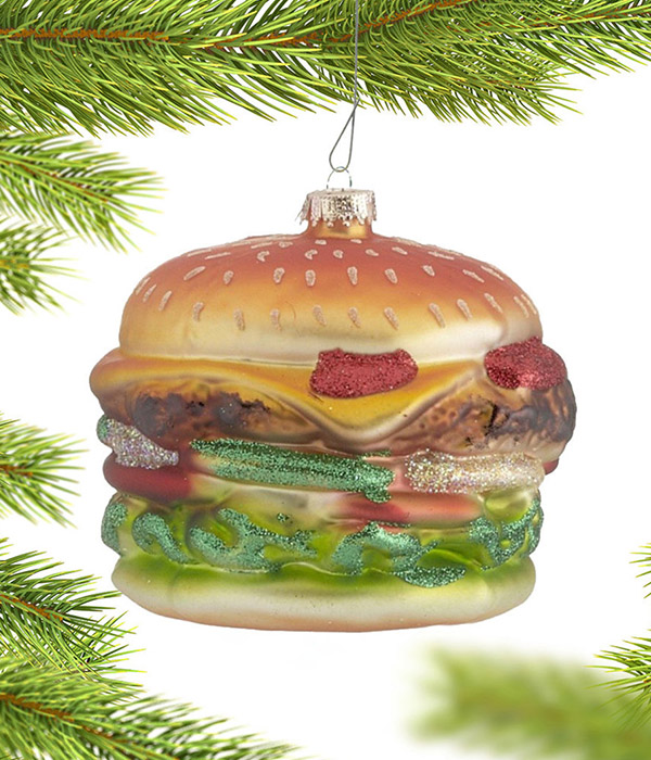 Personalized Cheeseburger Christmas Ornament