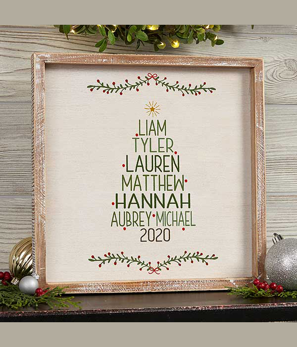 Christmas Family Tree Personalized Whitewashed Frame Wall Art