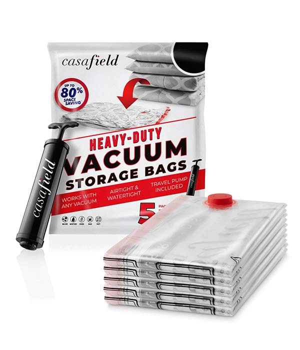 5 Pack Vacuum Space Storage Saver Bags with Travel Pump by Casafield