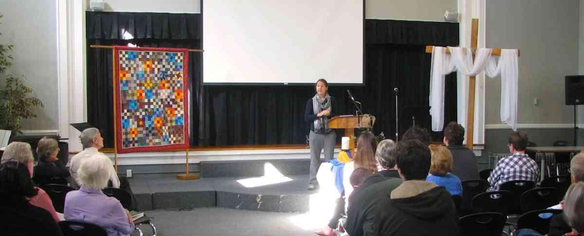RMC Intern Rachel Taylor bringing the message, October 19, 2014