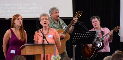 Alisha and Marilyn along with the Worship Team lead Be Not Afraid, July 3, 2016