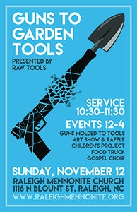 Poster promoting the Guns to Garden Tools Event.