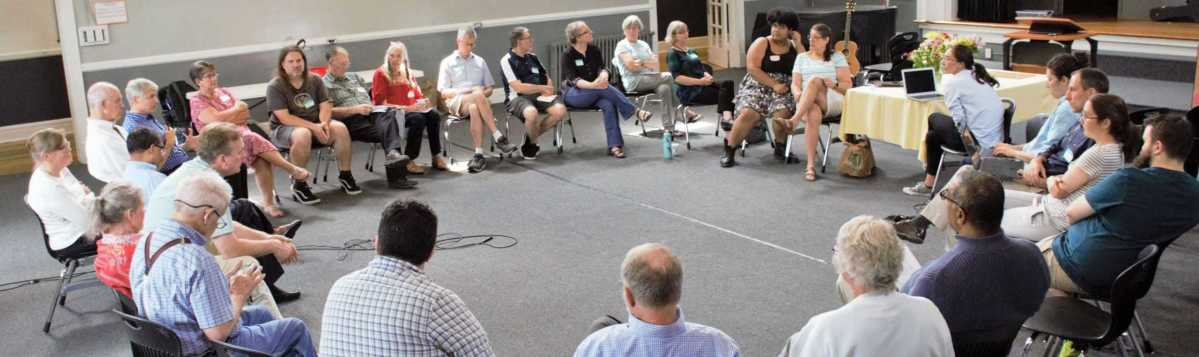 Church Life Meeting with participants gathered around a circle, September 2019