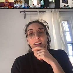 Melissa preaching via Zoom, with several participants shown in the gallery above her.