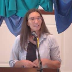 Melissa preaching at Shepherd's Hall Aug. 22, 2021
