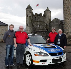 Left to Right: Alistair Fisher,Lewis Boyd (Clerk of the Course) Alan Elliott (Ulster Rally) and Enniskillen Council Vice Chairman, Councillor Harold Andrews.   Photo by Raymond Humphreys