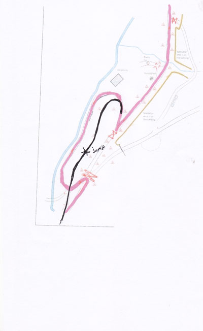 Hand drawn showing the new proposed route through the Sweet Lamb bowl in blue, compared to the original route in red