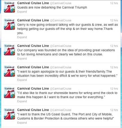 Carnival's Twitter feed from 2/15/13