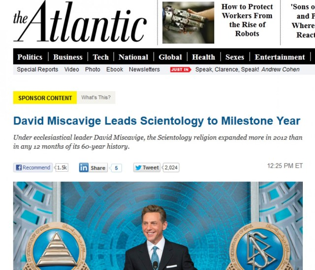 Atlantic's Scientology Native Ad