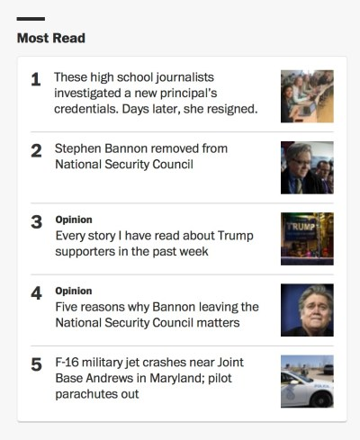 Story about Pittsburg High School students is most read story on Washington Post web site Wednesday.