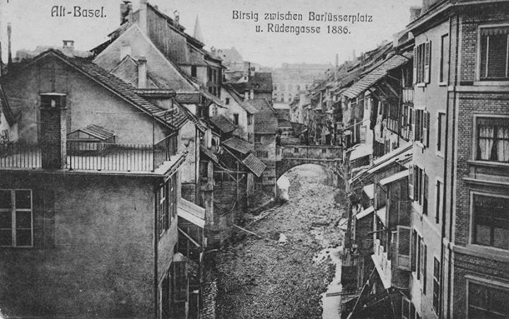 Birsig im Bereich Steinenvorstadt vor der Überbauung