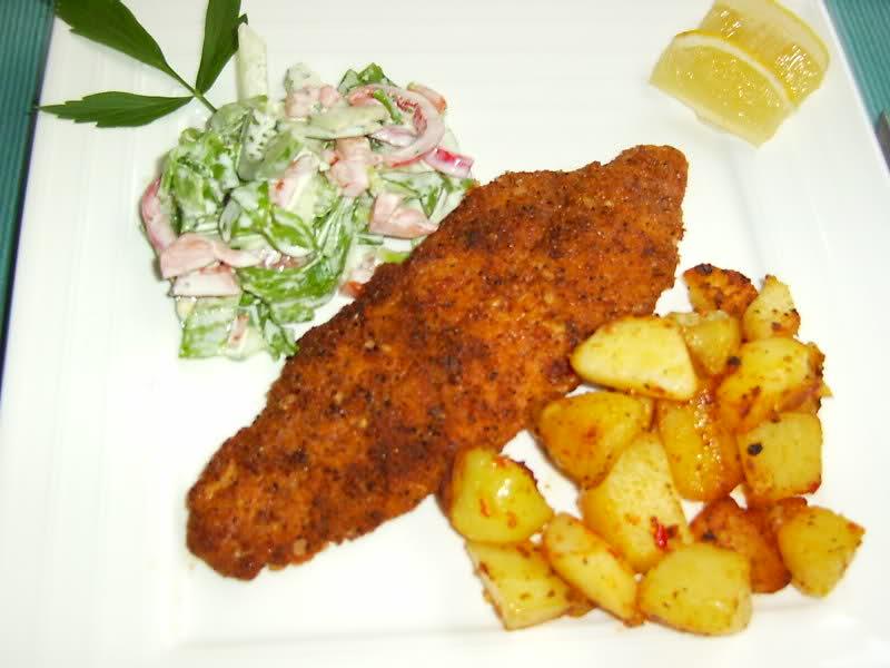 Aardappeltjes met gepaneerde visfilet