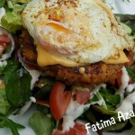 Kipburger salade zonder brood