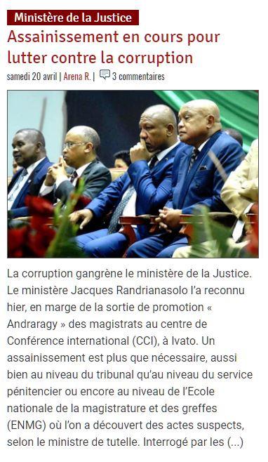 Ministère de la justice à Madagascar – Assainissement en cours pour lutter contre la corruption – Madagascar Tribune du 20 avril 2019