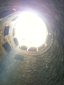 In the well looking up.