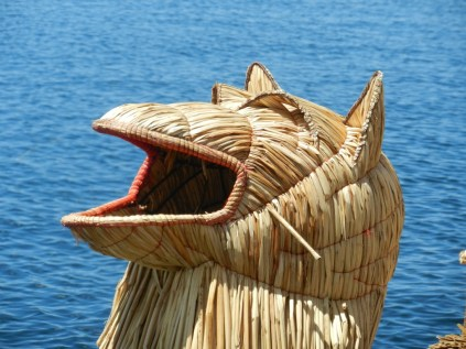 Uros reed boat detail.