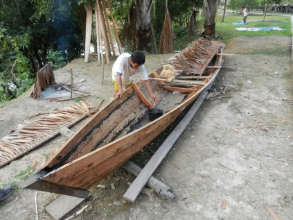 Boat building in local village.