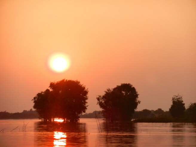 Sunset over Tonle Sap.