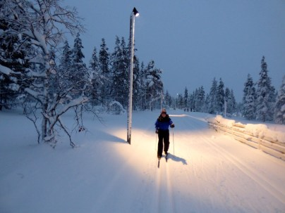 Skiing home in the dark - at 2pm.