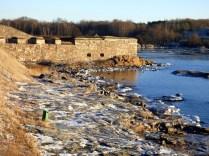 Suomenlinna walls and icy shore.
