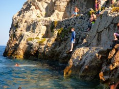 Cliff jumping.