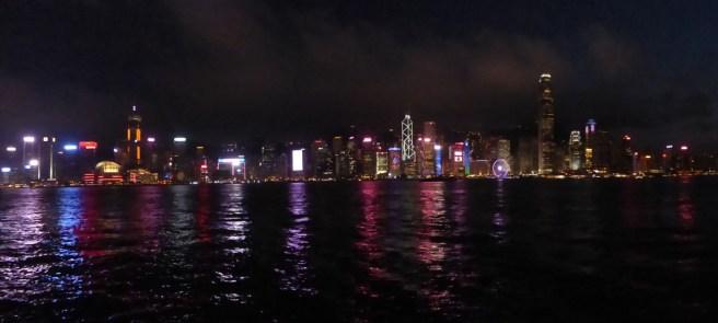 HK lights panorama.